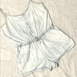 Acid Wash Chambray Tie Waist Romper - Fits Size 0